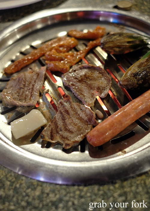 Cooked Korean barbecue meats at Charcoal Mine Barbecue House in Parramatta Sydney