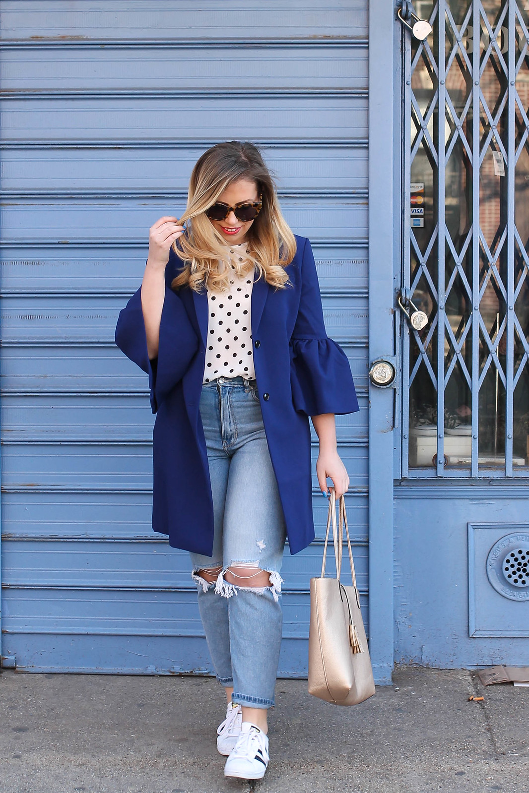 Spring Outfit Blue Bell Sleeve Jacket Polka Dot Tank Top Mom Jeans Adidas Sneakers Living After Midnite Jackie Giardina Style Fashion Blogger