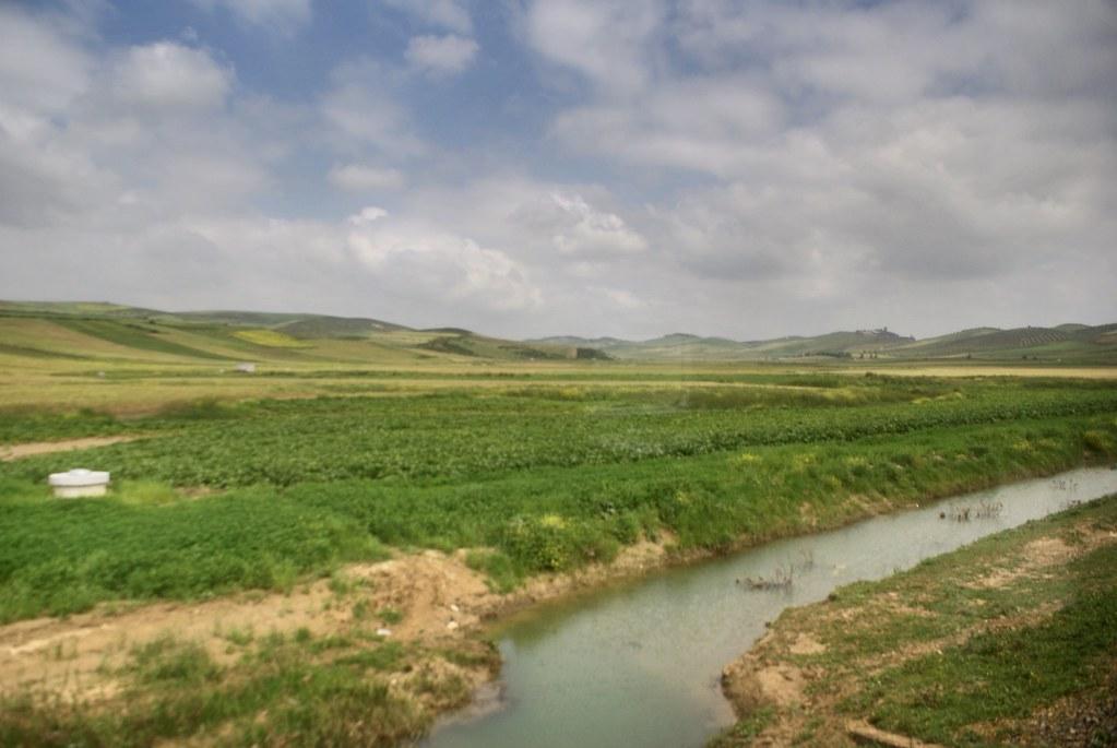 Vue depuis un train au nord du Maroc entre Assilah à Fès.