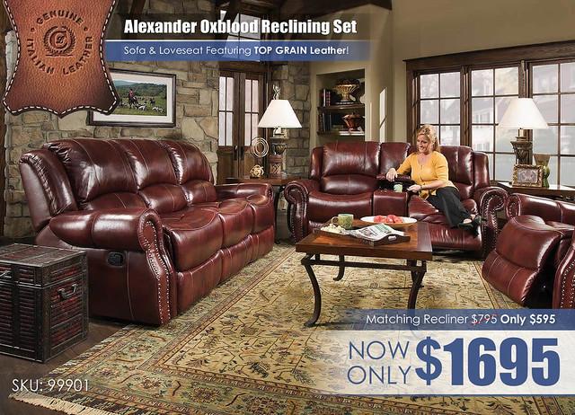 Corinthian Alexander Oxblood Reclining Set_99901_NEW