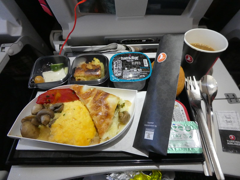 Breakfast on board the Turkish Airlines flight from London Gatwick to Istanbul