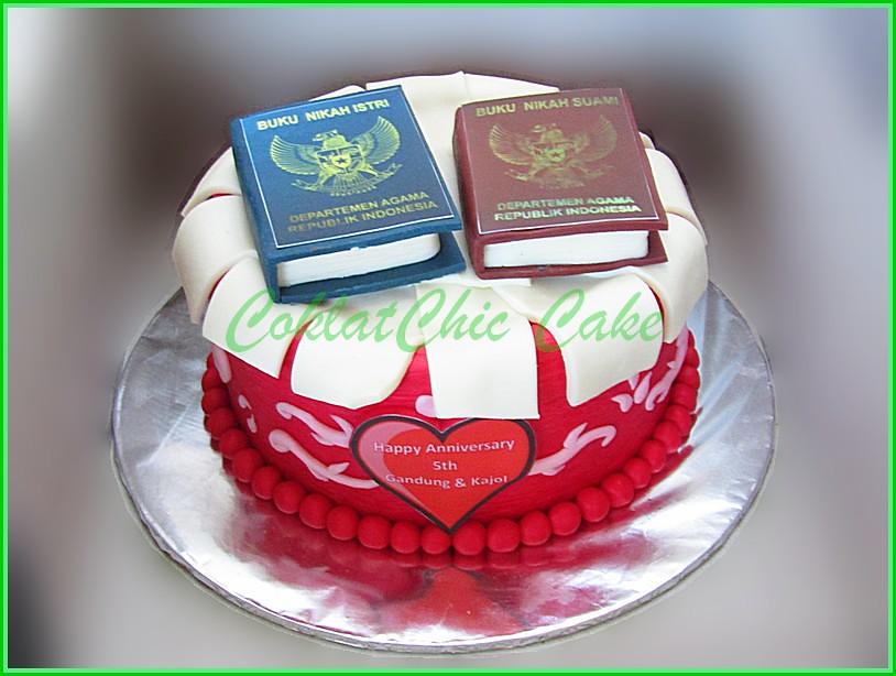 Cake Anniversary Buku Nikah GANDUNG & KAJOL 15 cm