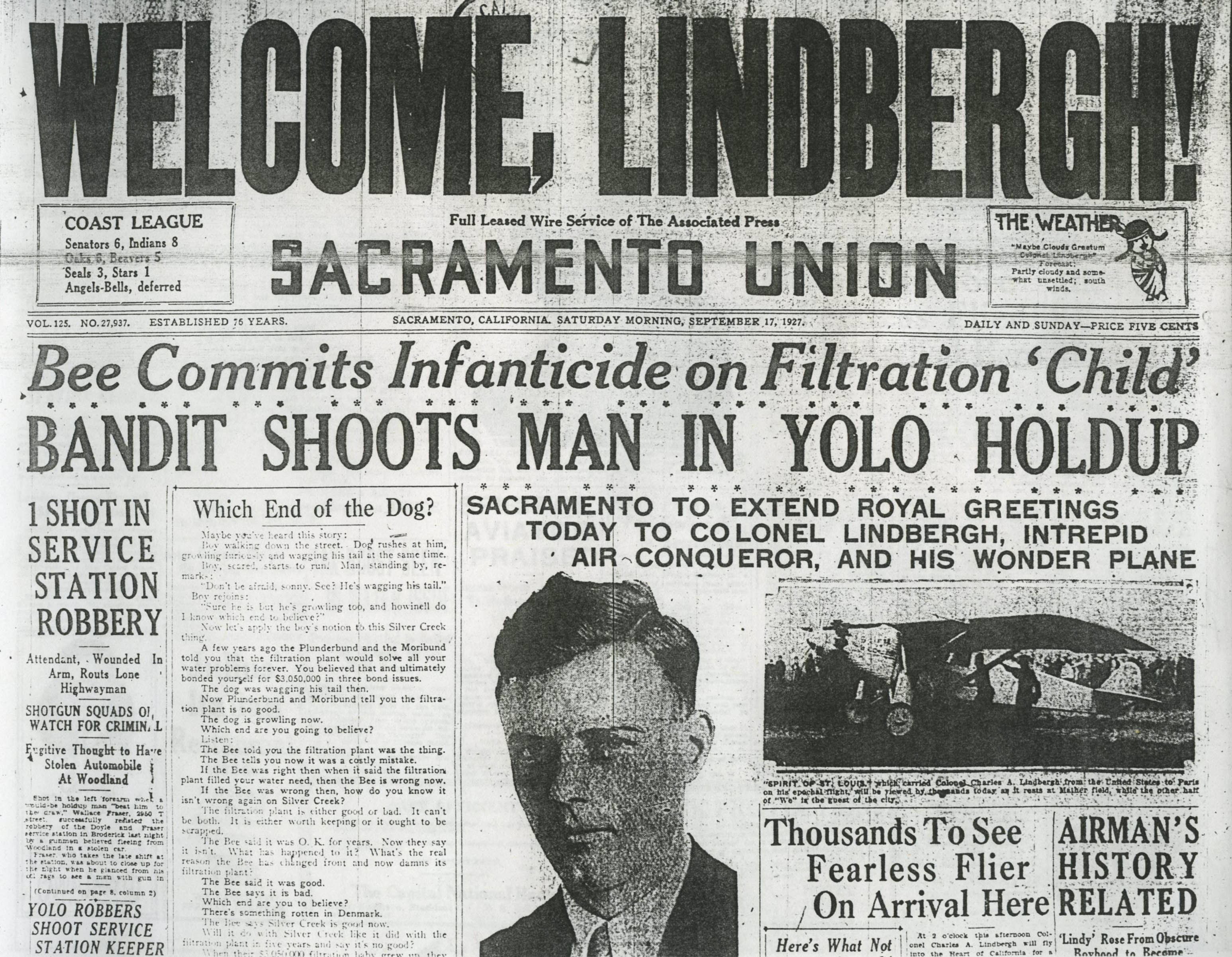 Welcome, Lindbergh! headline by the Sacramento Union on September 17, 1927.