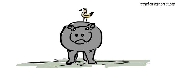 bird on hippo