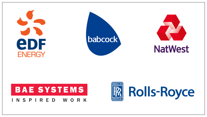 Company logos for EDF Energy, Babcock International, NatWest, BAE Systems and Rolls-Royce.