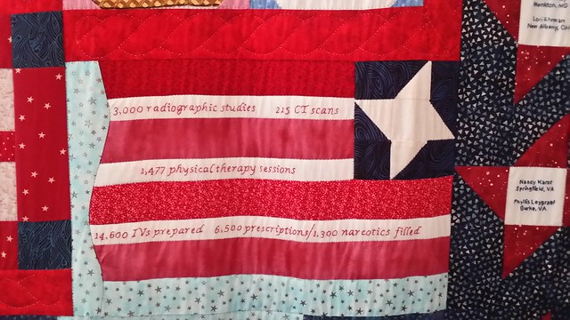 Statistic block on the quilt at WIMSA