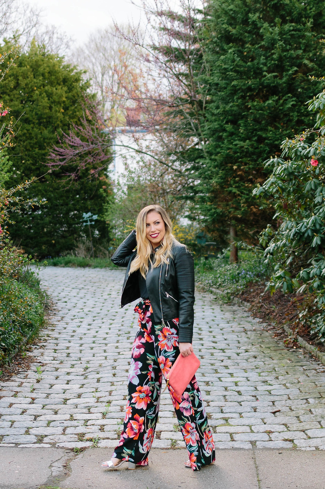 Easy Dressed Up Summer Outfit Pink Black Floral Printed Wide Leg Palazzo Pants Black Faux Leather Jacket