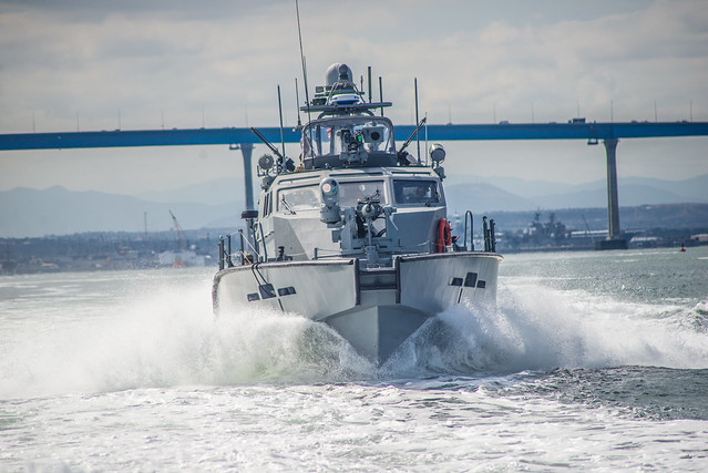 SAN DIEGO (May 22, 2018) Sailors assigned to Coastal Riverine Squadron (CRS) 3 operate a Mark VI patrol boat during a final evaluation problem conducted by Coastal Riverine Group (CRG) 1's training and evaluation unit. CRG-1 provides a core capability to defend designated high value assets throughout the green and blue-water environment and providing deployable adaptive force packages worldwide in an integrated, joint and combined theater of operations. (U.S. Navy photo by Chief Boatswain's Mate Nelson Doromal Jr./Released)