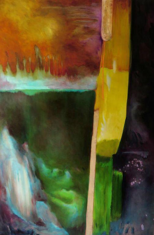 Fuoco e luna - 182x122 cm Oil on canvas 2016
