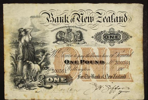 1904 Bank of New Zealand One Pound Wellington Banknote