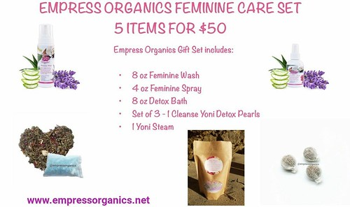 Check out our #5for50 #femininecare #giftset #femininewash #femininespray #yonipearls #detoxbath #yonisteam www.empressorganics.net Empress Organics All-natural, Vegan feminine wash (vaginal wash) is crafted with organic plant-based ingredients. Our Yoni