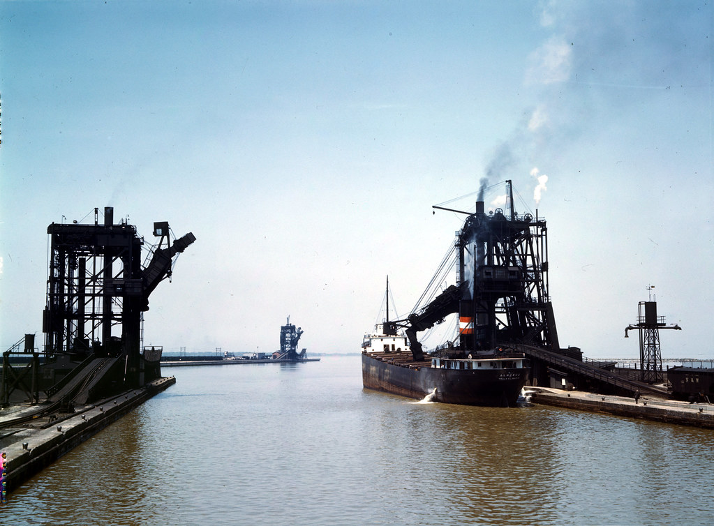 Loading a freighter with coal at one of the three coal docks owned by the Pennsylvania Railroad, Sandusky, Ohio. 1943 May