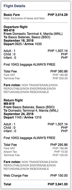 Manila to Batanes SkyJet Airlines September 18 to 24, 2018 Roundtrip