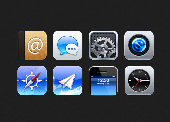 iOS icons in PSD format for Photoshop