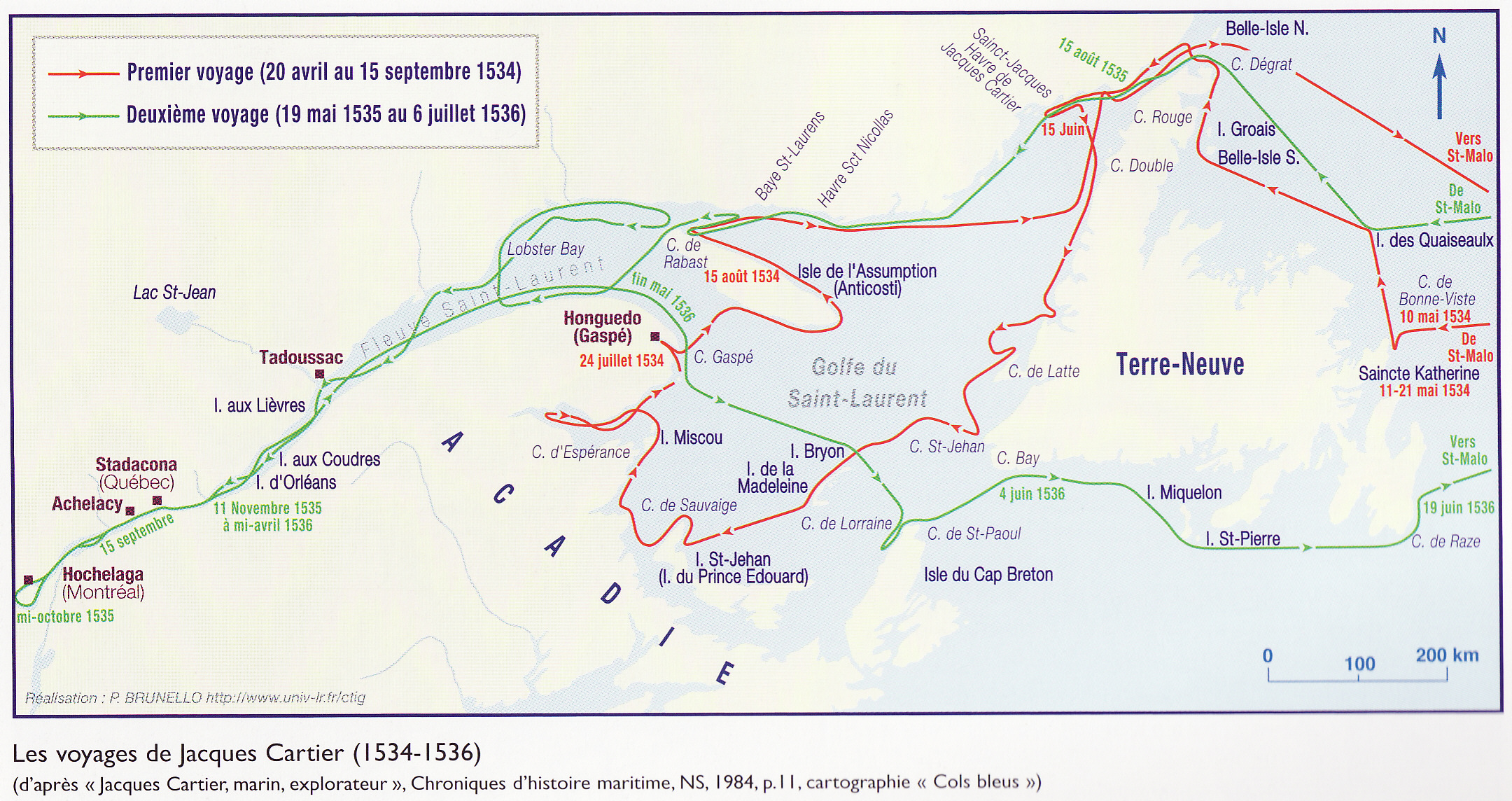 Map of the first (1534) and second (1535-1536) voyages to Canada by French explorer Jacques Cartier.