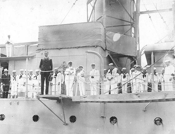 Charles Lindbergh arrives at the Washington, D.C. Navy Yard aboard USS Memphis on June 11, 1927.