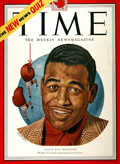 Sugar Ray Robinson on the cover of Time magazine, June 25, 1951.