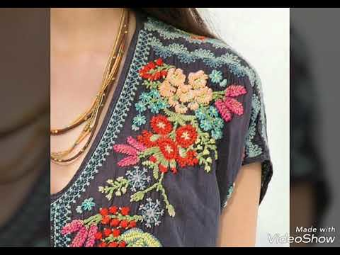 Latest Stylish Hand Embroidery Designs For Kurti Frocks Shirts