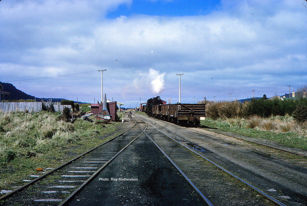 Shunting wagons at Tahakopa late 1960's.
