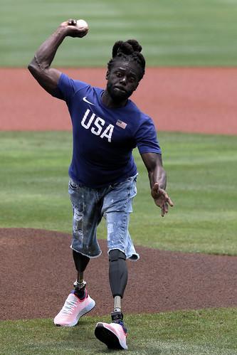 U.S. Paralympian Regas Woods 1st Pitch