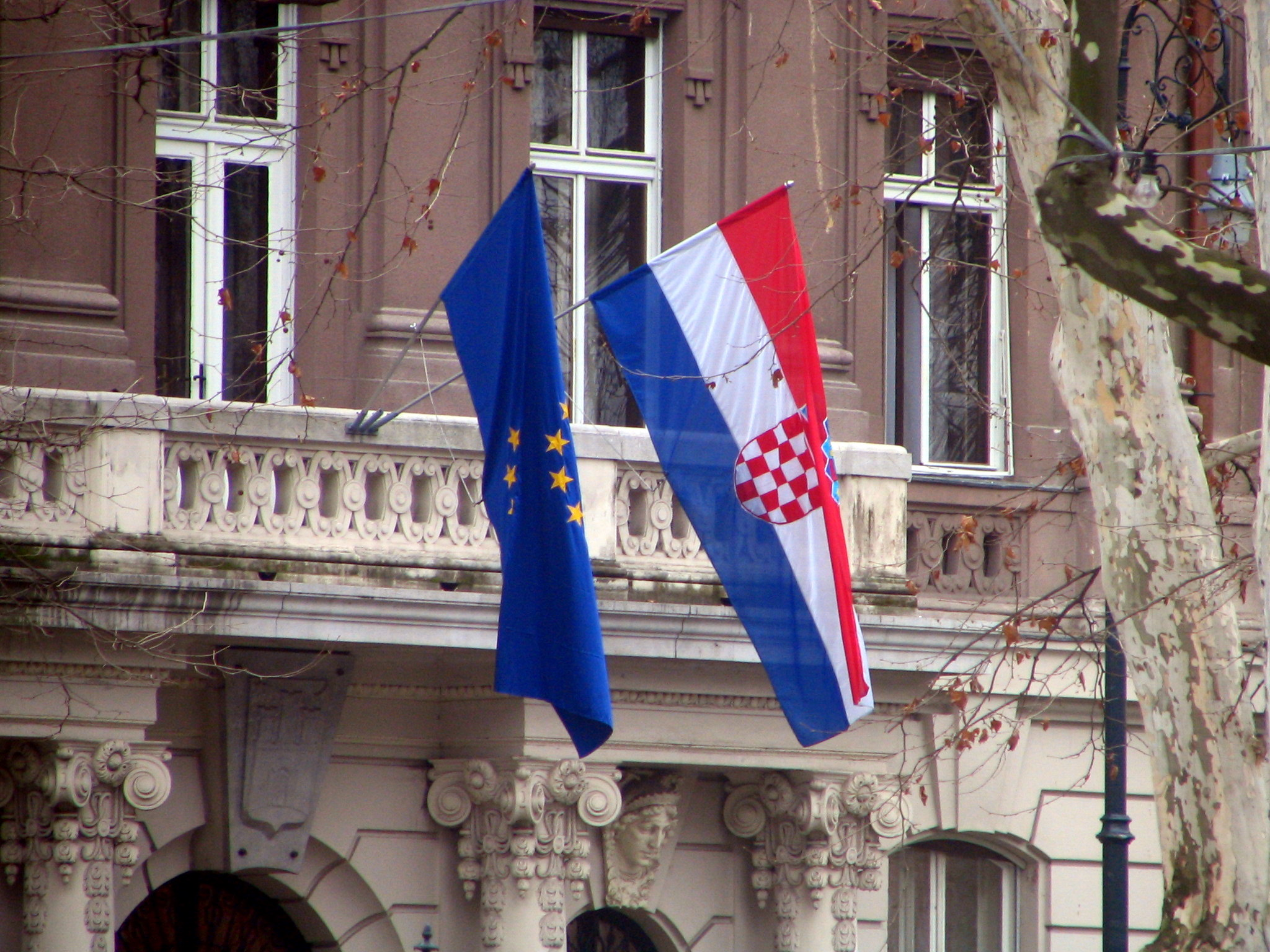 European Union and Croatian flags Photo taken on March 9, 2007.