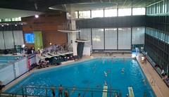 Warming-up pool (diving pit) and TV stage