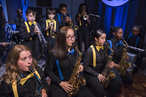 The students from Young Audiences Charter School in Gretna play in the WWOZ Studio for the School Grooves Series on May 14. Photo by Ryan Hodgson-Rigsbee RHRphoto.com