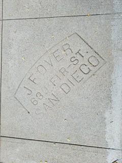 Contractor's Sidewalk Marker - J. F. Over 630 Fir St San Diego