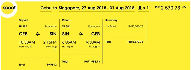 Scoot Cebu to Singapore August 27 to 31, 2018