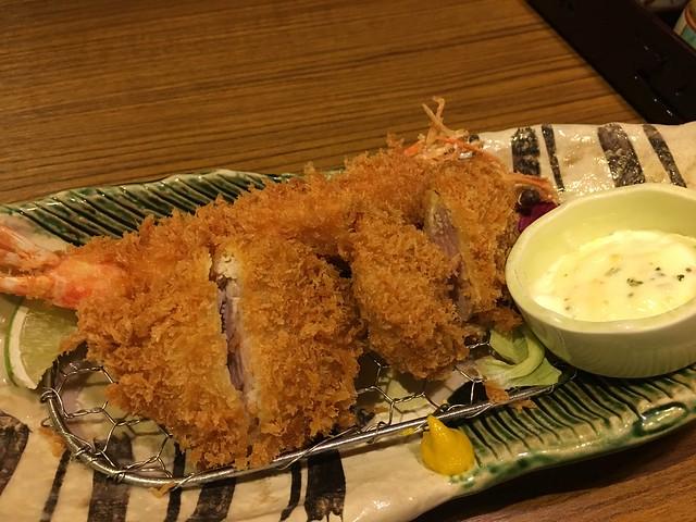 主菜上桌:明蝦與腰內豬排@台北信義勝政豬排