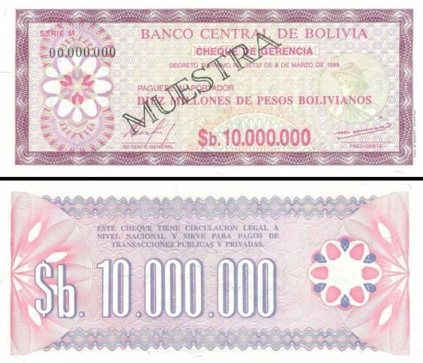 10 000 000 Pesos Bolivianos Bolívia 1985, P194s specimen