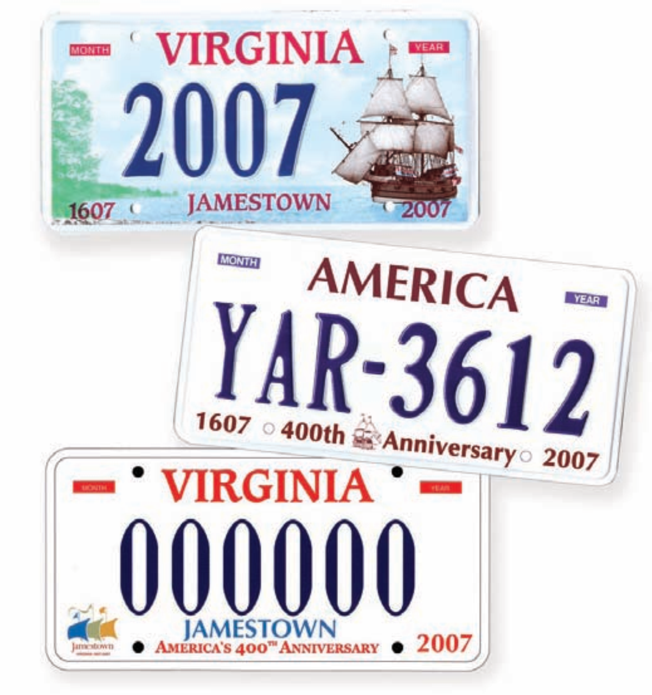 Special Jamestown license plates first became available for motorists in 1997 and continued throughout the quadricentennial period.