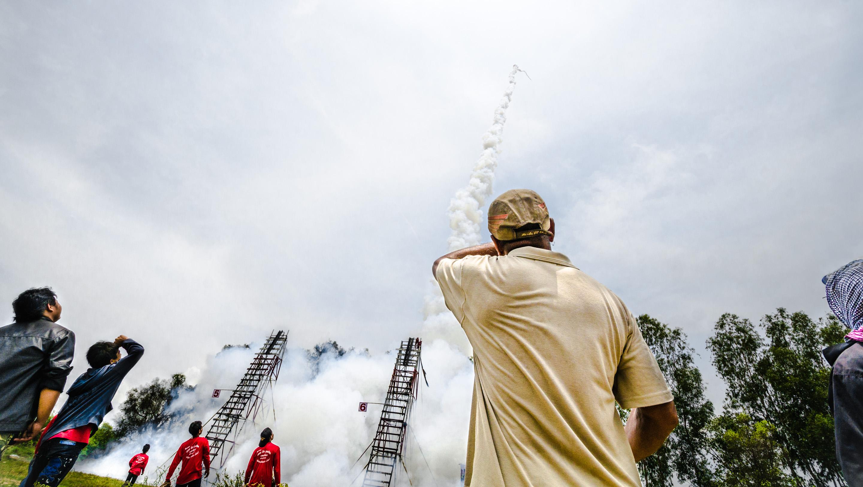 The rockets can reach very high altitudes. Photo taken at Bun Bang Fai Festival in Thailand on May 12, 2013.