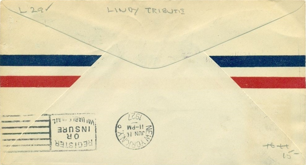 Rear of the above cover showing New York June 11, 1927, arrival backstamp.
