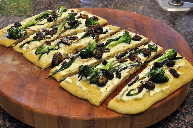 Flatbread with Morel Mushrooms, Grilled Ramps and Roasted Broccoli