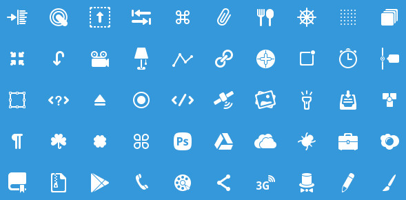 Icons 50 Glyphs icons for Photoshop in PSD