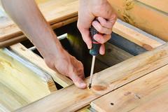 Wooden boards in carpenter's workshop