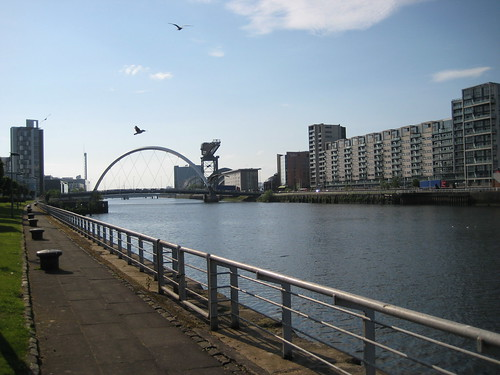 Clyde Waterfront walk: looking west to the Clyde Arc Bridge