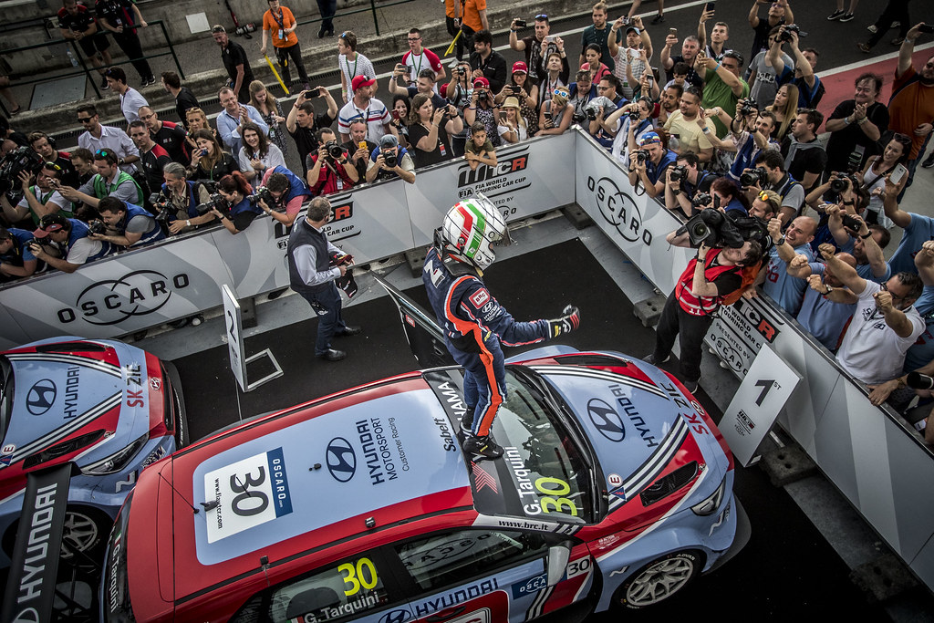 30 TARQUINI Gabriele (ITA), BRC Racing Team, Hyundai i30 N TCR,podium ambiance during the 2018 FIA WTCR World Touring Car cup, Race of Hungary at hungaroring, Budapest from april 27 to 29 - Photo Gregory Lenormand / DPPI