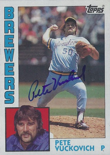 1984 Topps - Pete Vuckovich #505 (Pitcher) - Autographed Baseball Card (Milwaukee Brewers)