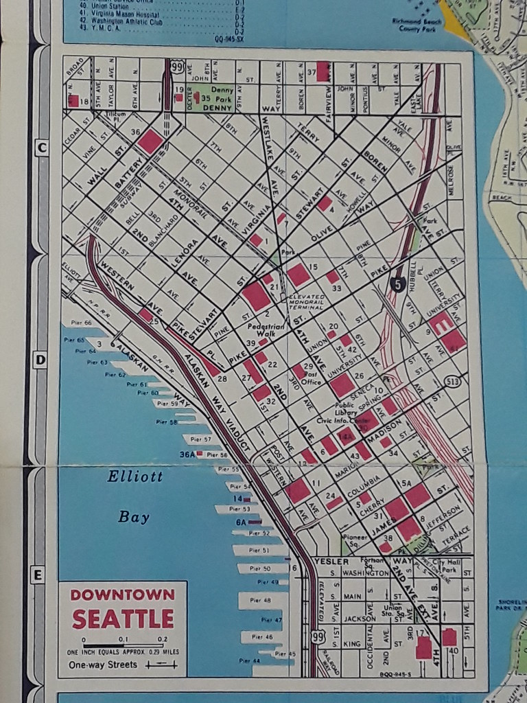 Goucha 1969 map of Downtown Seattle | Arthur Allen | Flickr