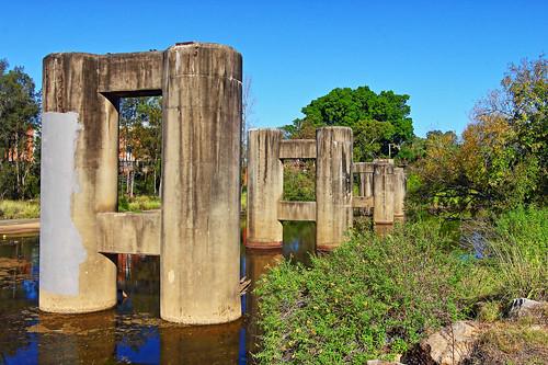 bridge pylons nsw liverpool lighthorsepark georgesriver derelict abandoned