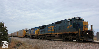 CSX 7557 Leads SB Autorack Bonita, KS 12-30-12