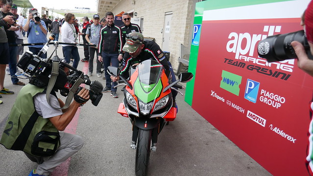 Max Biaggi showing off new Aprilia