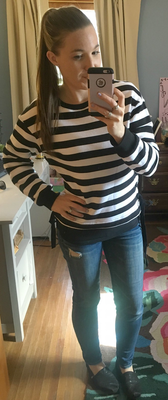 Target striped tie-side sweater