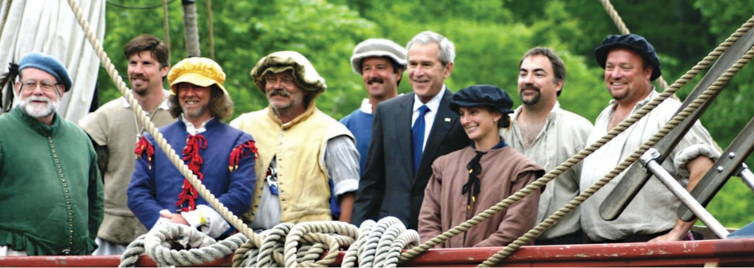 U.S. President George Bush visits the re-created Susan Constant. Photo taken on May 11 2007.