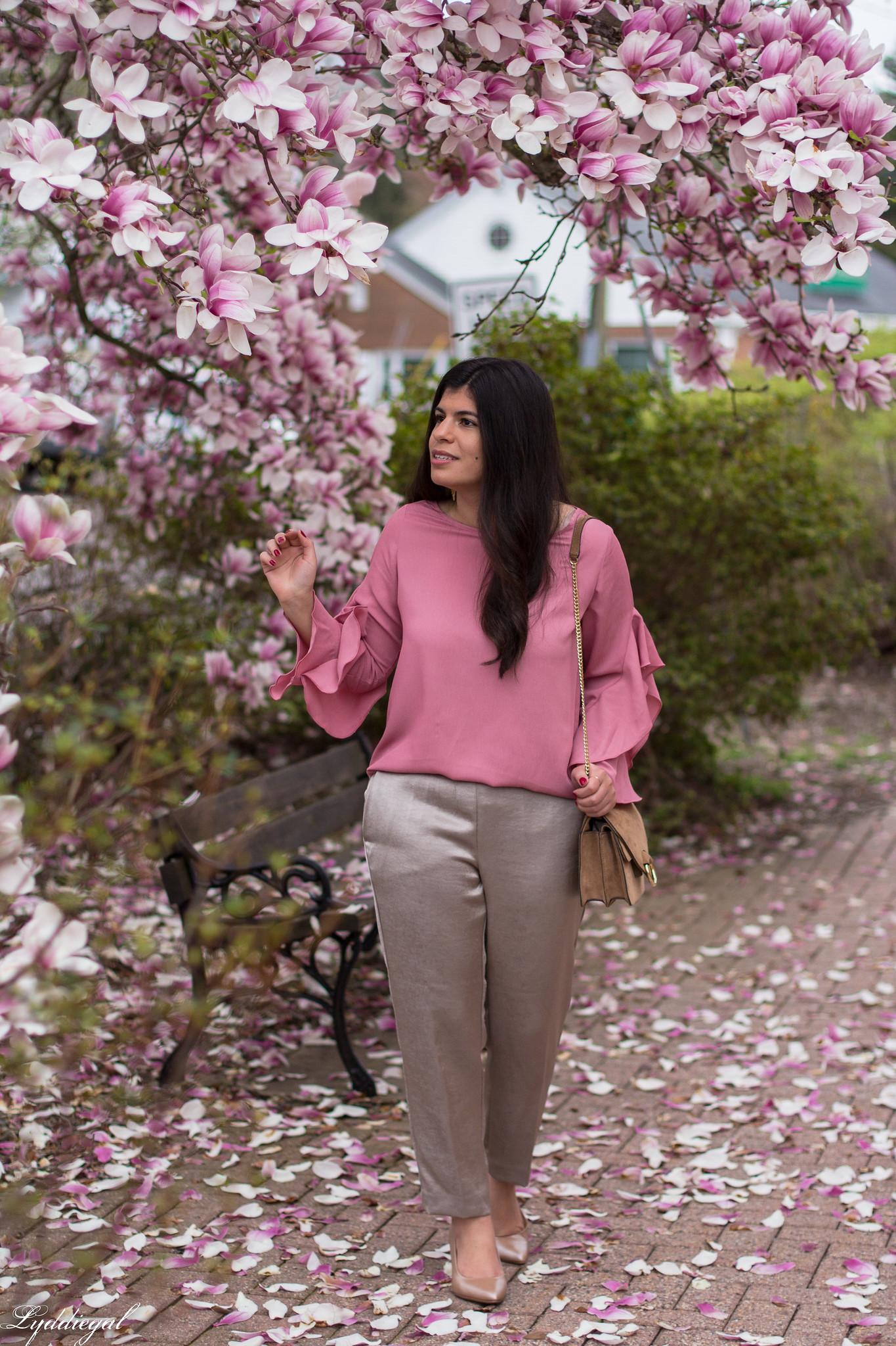 pink ruffled sleeve blouse, satin pants, suede ring bag-4.jpg