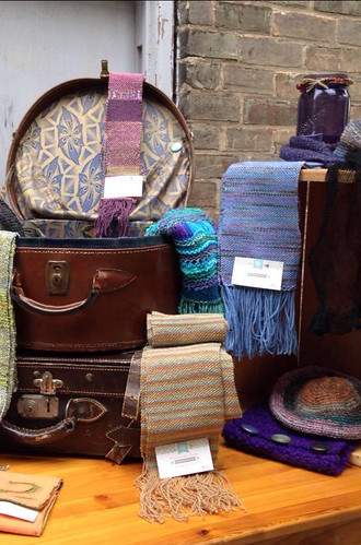 A few of the woven pieces Kathy brought along with her loom