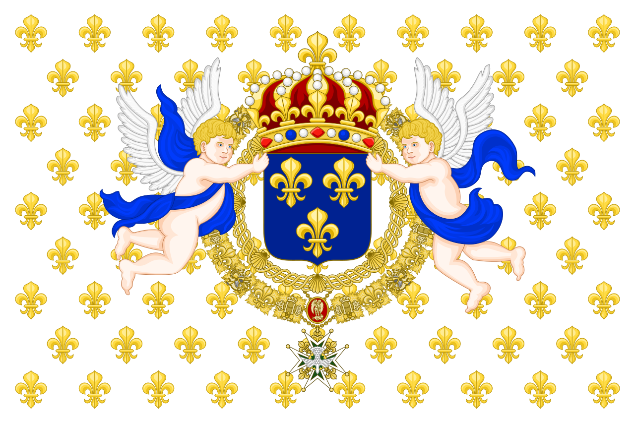 Royal Standard, raise in the presence of the King of France (used as a state flag by the Kingdom of France under the absolute monarchy, 1638-1790).