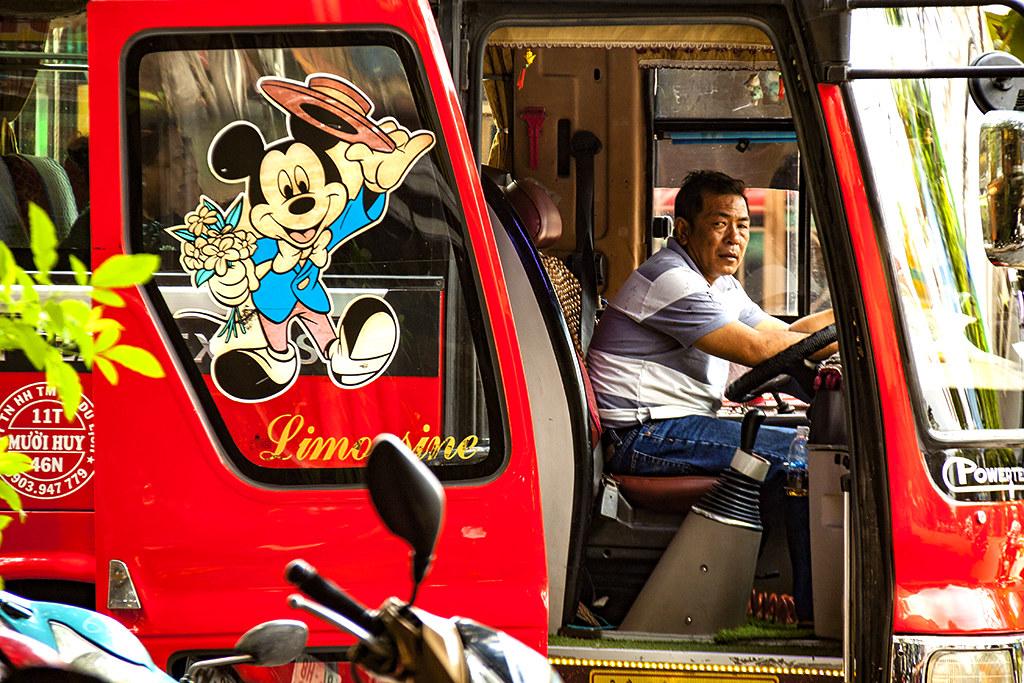 Mickey Mouse image on bus--Saigon